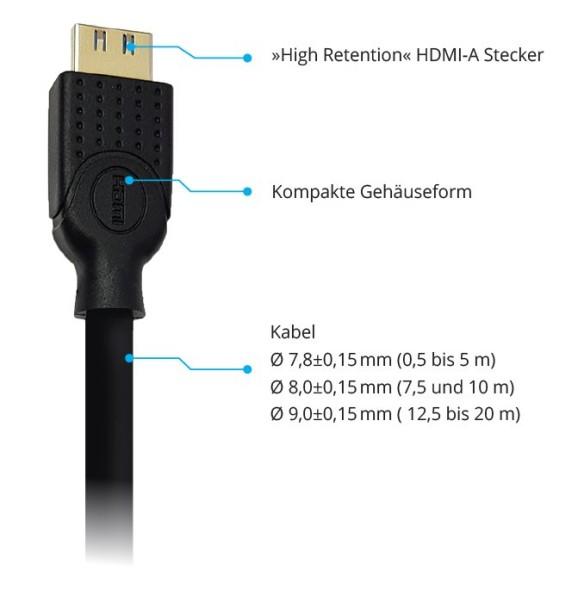HDMI-Kabel (Rastnasen) 2,0m HDMI St./St. Ethernet, schwarz
